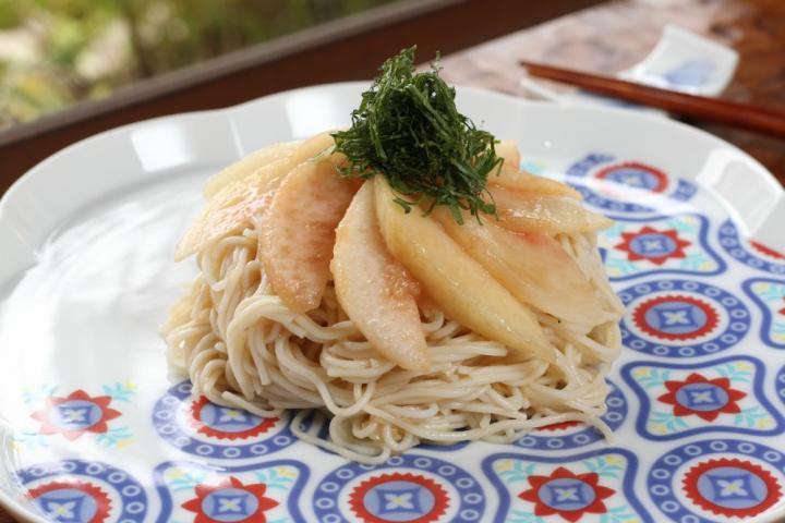 桃と大葉の素麺カッペリーニ